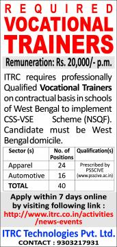 Required Vocational Trainers in West Bengal