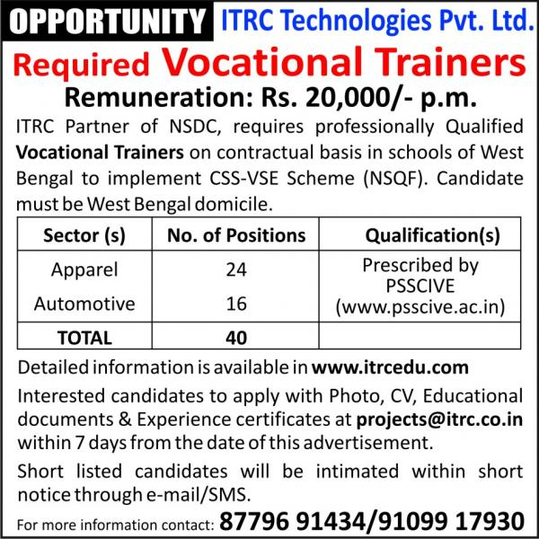 Required Vocational Trainers
