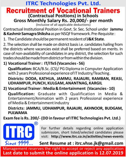 Recruitment of Vocational Trainers in Jammu & Kashmir