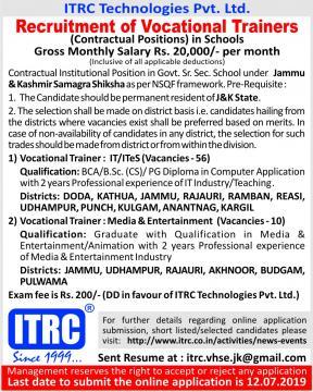 Recruitment of Vocational Trainers in Jammu & Kashmir